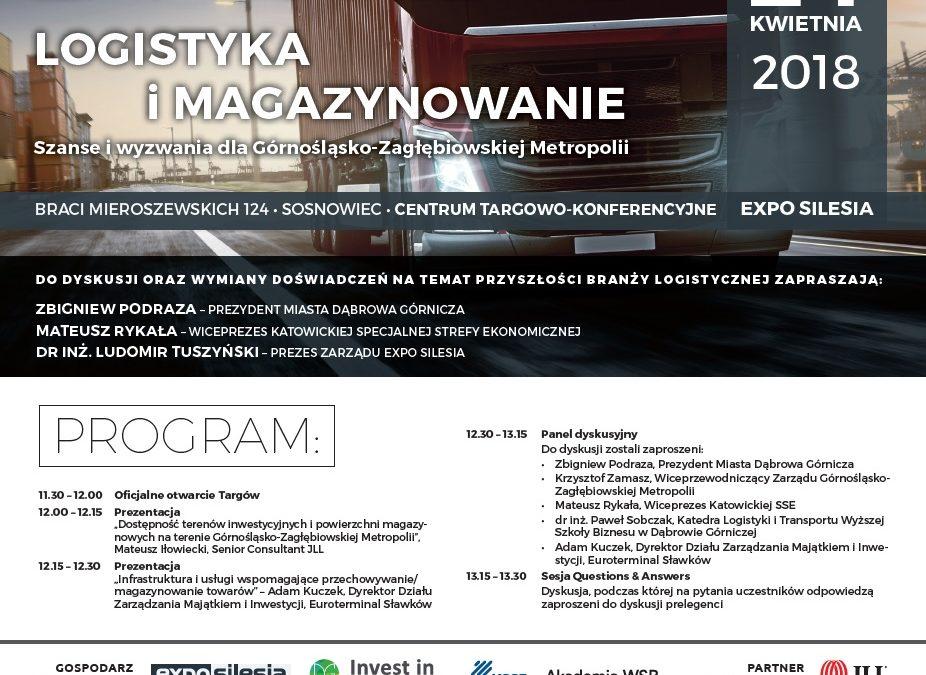 """Zaproszenie na panel dyskusyjny """"Logistyka i magazynowanie"""" Expo Silesia, 24.04.2018 r."""