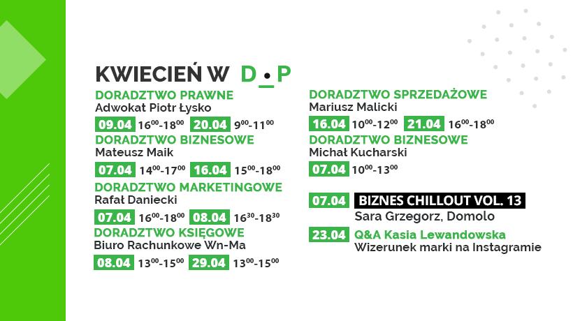 Kwietniowe wydarzenia w Dąbrowskim Inkubatorze Przedsiębiorczości